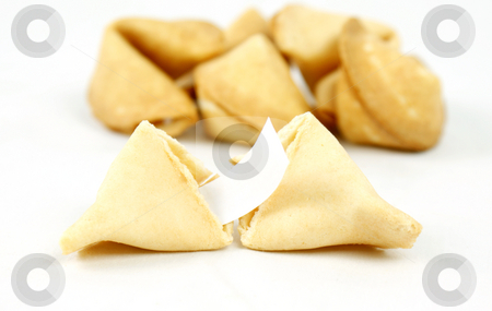 Fortune cookies stock photo, Fortune cookie split open by Kirsty Pargeter