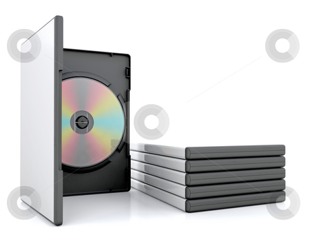 DVD in case stock photo, DVD in case with a stack of cases by Kirsty Pargeter