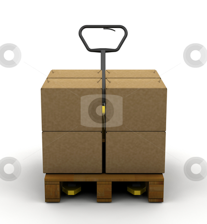 Pallet truck stock photo, 3D render of a pallet truck with boxes by Kirsty Pargeter