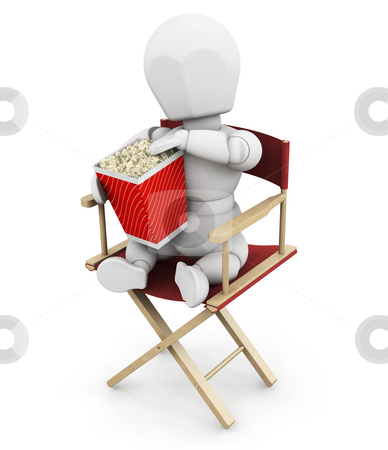 Movie person stock photo, 3D render of someone eating popcorn by Kirsty Pargeter
