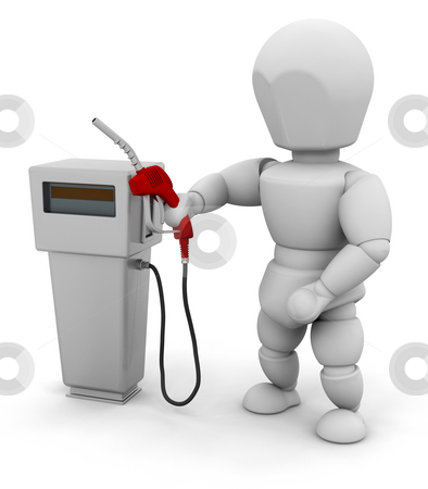 Person at a fuel pump stock photo, 3D render of someone with a fuel pump by Kirsty Pargeter