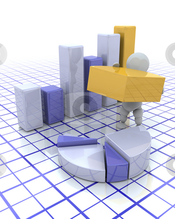 Building profits stock photo, 3D render of a man with graphs by Kirsty Pargeter