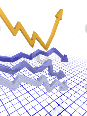 Profits and loss stock photo, 3D render of arrows by Kirsty Pargeter
