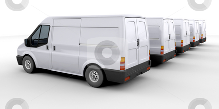 Fleet of delivery vans stock photo, 3D render of a fleet of delivery vans by Kirsty Pargeter