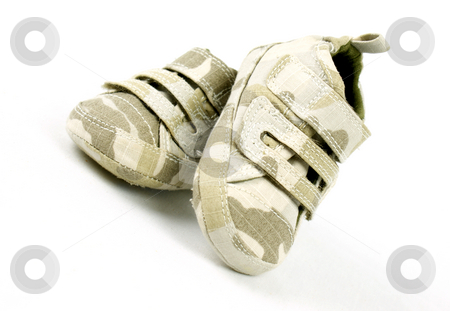 Baby camouflage shoes stock photo, Baby camouflage shoes on a white background by Kirsty Pargeter