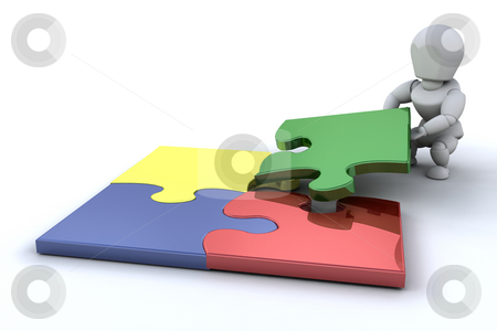 Problem solving stock photo, Someone connecting puzzle pieces by Kirsty Pargeter