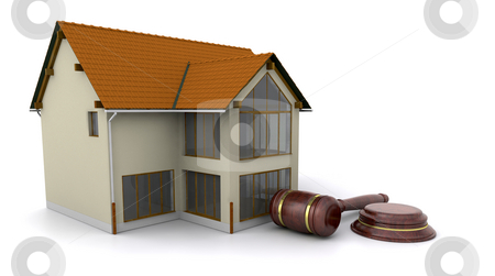 House for auction stock photo, House with hammer and gavel by Kirsty Pargeter