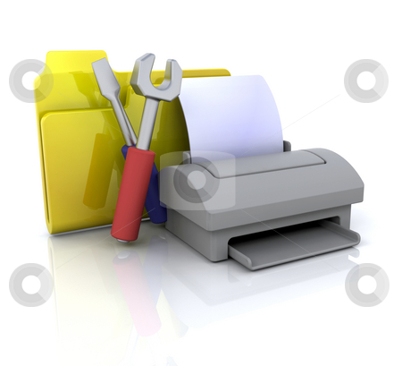 Printer settings icon stock photo, 3D computer icon for printer settings by Kirsty Pargeter