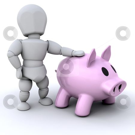 Person with piggy bank stock photo, Someone stood next to a piggy bank by Kirsty Pargeter