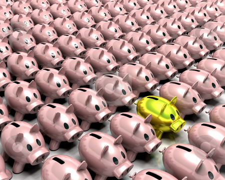 Gold piggy bank in the crowd stock photo, 3d render of a gold piggy bank in amongst a crowd of pink piggy banks by Kirsty Pargeter