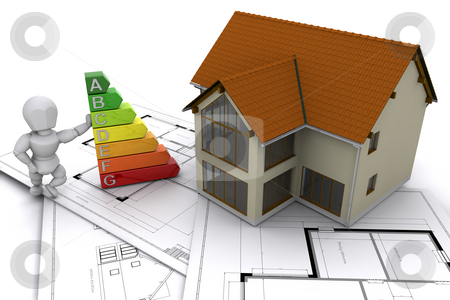 Energy efficient stock photo, Person stood next to energy ratings with house on plans by Kirsty Pargeter