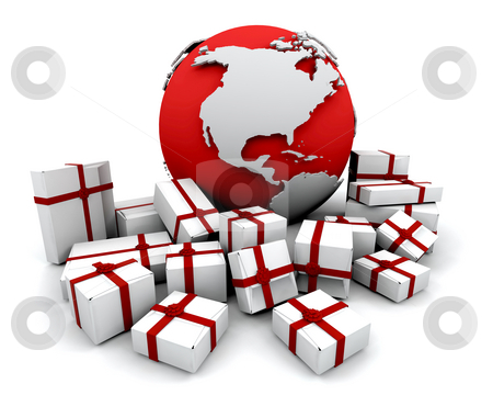 Gifts around the world stock photo, 3D render of a stack of gifts around a globe by Kirsty Pargeter