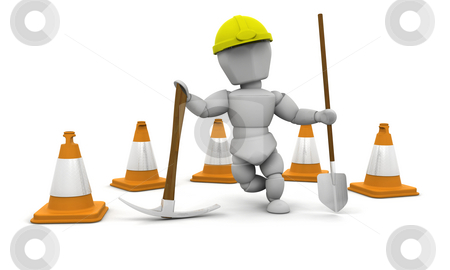Worker stock photo, 3D render of a manual worker by Kirsty Pargeter