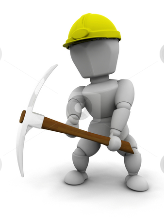 Manual worker stock photo, 3D render of a worker with a pickaxe by Kirsty Pargeter