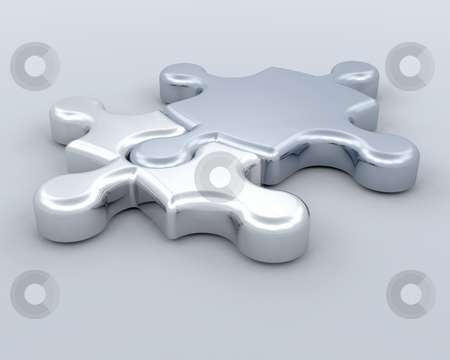 Connections stock photo, 3D render of two puzzle pieces connected by Kirsty Pargeter