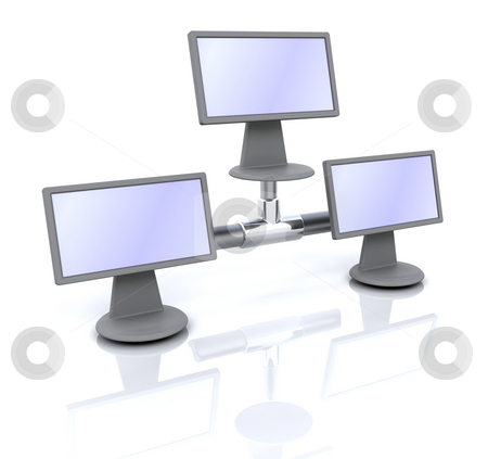 Icon for network computer stock photo, 3D computer icon for network computer by Kirsty Pargeter