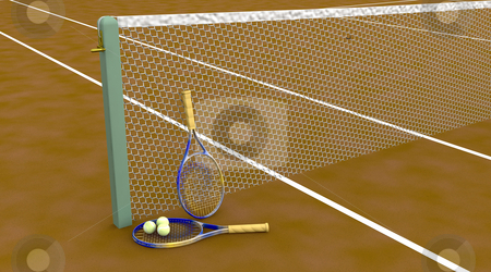 Clay tennis court stock photo, 3d render of a clay tennis court with tennis raquets and balls by Kirsty Pargeter