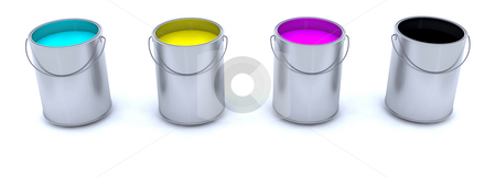Paint cans stock photo, CMYK paint cans by Kirsty Pargeter
