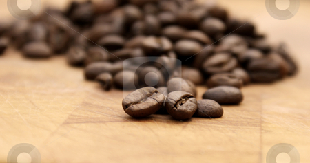 Coffee beans stock photo, Close up of coffee beans - shallow depth of field used by Kirsty Pargeter
