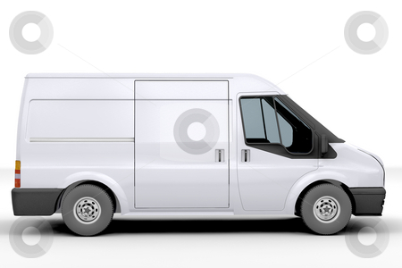 White van stock photo, 3D render of a white van by Kirsty Pargeter