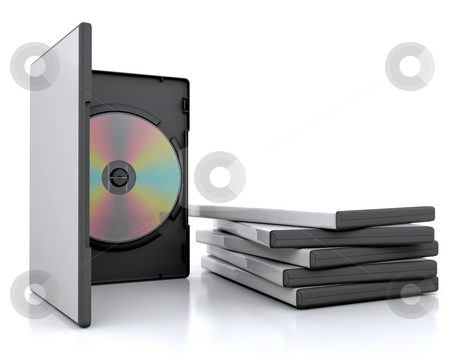 Dvd cases stock photo, 3d render of a dvd in a case next to a stack of cases by Kirsty Pargeter