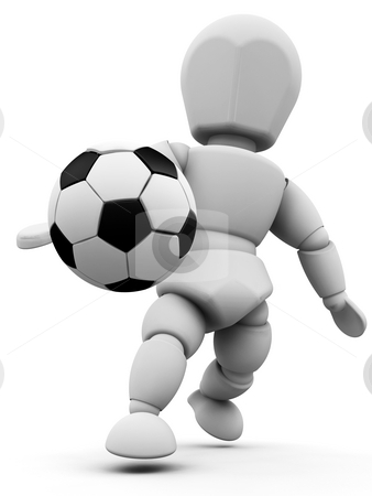 Person with football stock photo, 3D render of someone with a soccer ball by Kirsty Pargeter