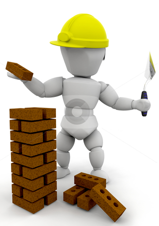 Builder stock photo, 3D render of a builder by Kirsty Pargeter