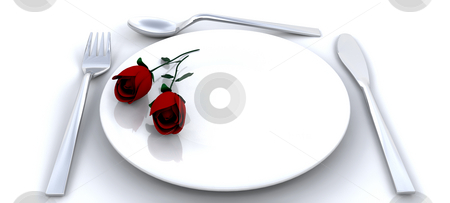 Romantic dinner stock photo, Place setting with red roses by Kirsty Pargeter