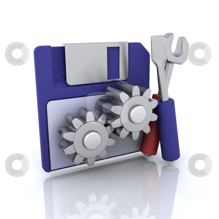 Disk tools icon stock photo, 3D computer icon for disk tools by Kirsty Pargeter