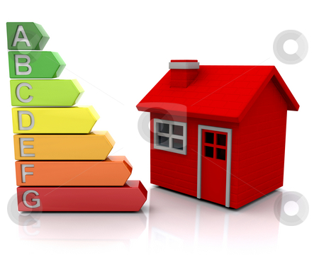 House with energy ratings stock photo, 3D render of a red house and energy rating graph depicting poor energy efficiency by Kirsty Pargeter