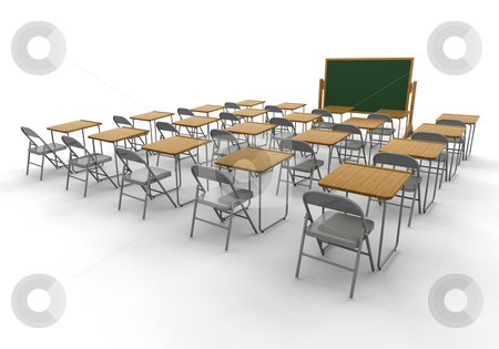 Empty classroom stock photo, 3D render of an empty classroom by Kirsty Pargeter