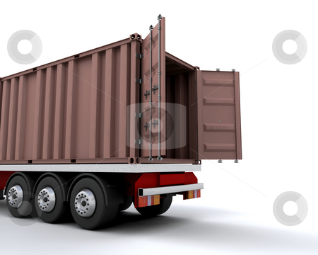 Freight container stock photo, Freight container on the back of a heavy goods vehicle by Kirsty Pargeter