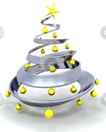 Christmas tree stock photo, 3D render of a modern Christmas tree by Kirsty Pargeter
