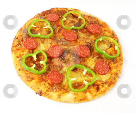 Pepperoni pizza stock photo, Pepperoni pizza on a white background by Kirsty Pargeter
