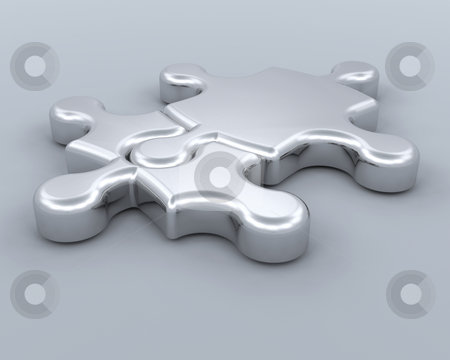 Connections stock photo, 3D render of jigsaw pieces connected by Kirsty Pargeter