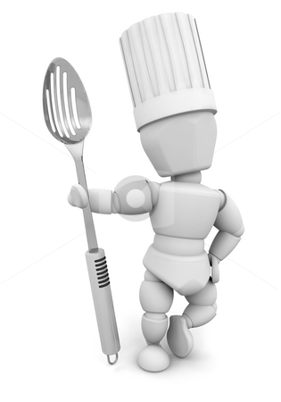 Chef with metal spoon stock photo, 3D render of a chef with a metal spoon by Kirsty Pargeter