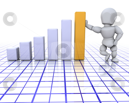 Success stock photo, 3D render of someone stood next to a bar chart by Kirsty Pargeter