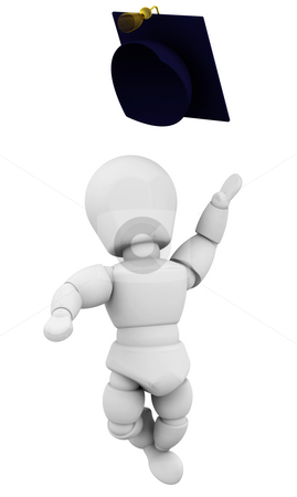 Graduate stock photo, 3D render of someone celebrating graduation by Kirsty Pargeter