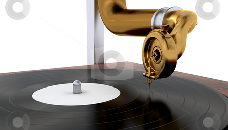 Gramophone stock photo, Close up of a needle on a gramophone player by Kirsty Pargeter