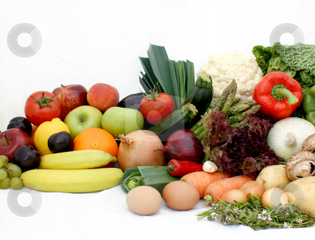 Fruit and vegetables stock photo, Large display of various fruit and vegetables by Kirsty Pargeter