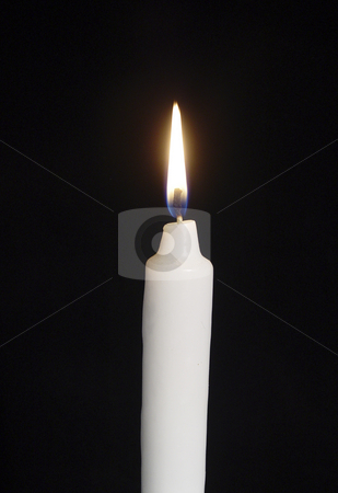 Burning Candle on Black Background stock photo,  by Kirsty Pargeter