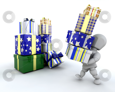 Christmas shopping stock photo, 3D render of someone with lots of presents by Kirsty Pargeter