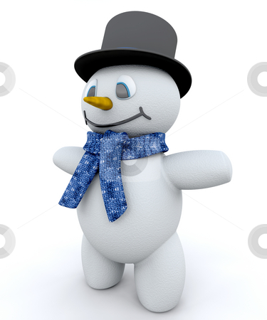 Snowman stock photo, Snowman in top hat by Kirsty Pargeter