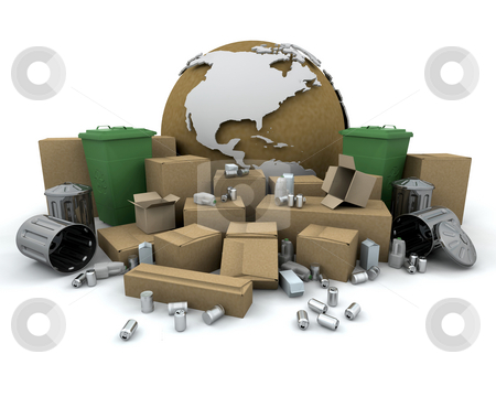 Global recycling stock photo, 3D render of items to recycle with a globe by Kirsty Pargeter