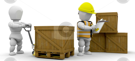 Workers stacking crates stock photo, Workers stacking crates and checking them off on a clipboard by Kirsty Pargeter