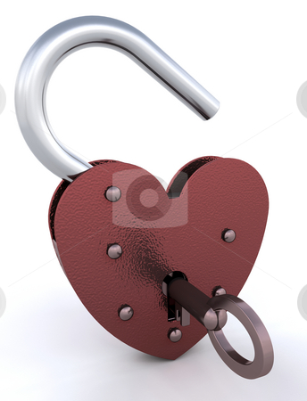Heart shaped padlock stock photo, Unlocked heart shaped padlock by Kirsty Pargeter