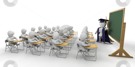 Classroom stock photo, 3D render of children in a classroom by Kirsty Pargeter