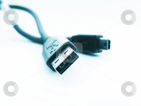 USB Cord on white stock photo,  by Kirsty Pargeter