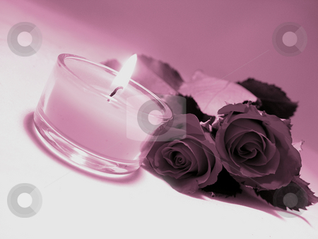 Candle and Roses stock photo,  by Kirsty Pargeter