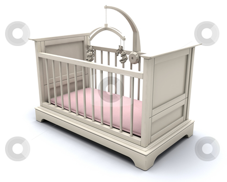 Cot for baby girl stock photo, 3D render of a cot for a baby girl by Kirsty Pargeter